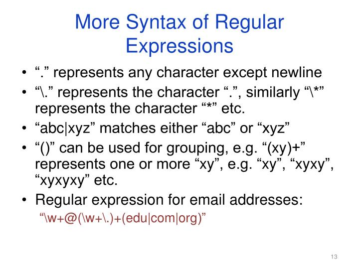 More Syntax of Regular Expressions