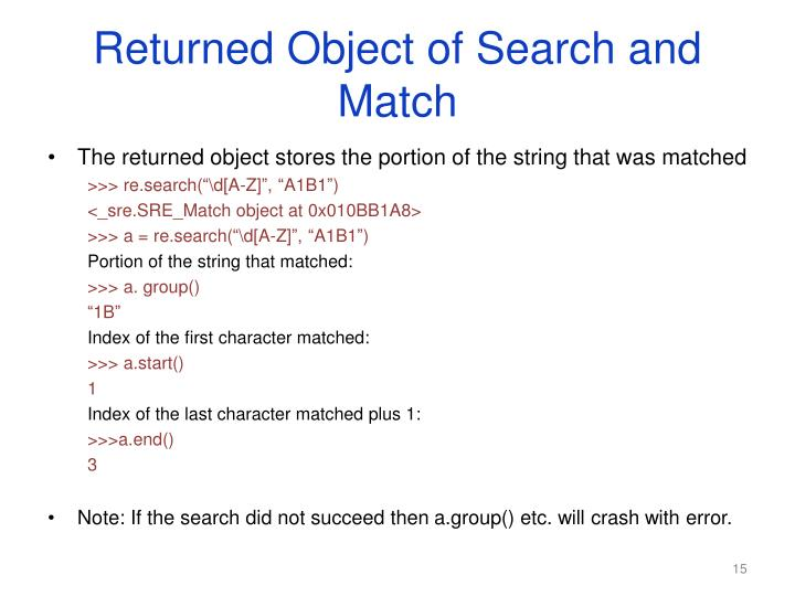 Returned Object of Search and Match