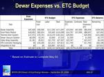 dewar expenses vs etc budget