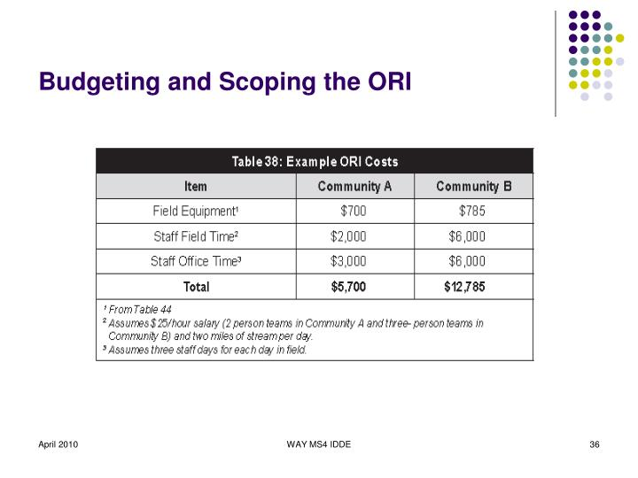 Budgeting and Scoping the ORI