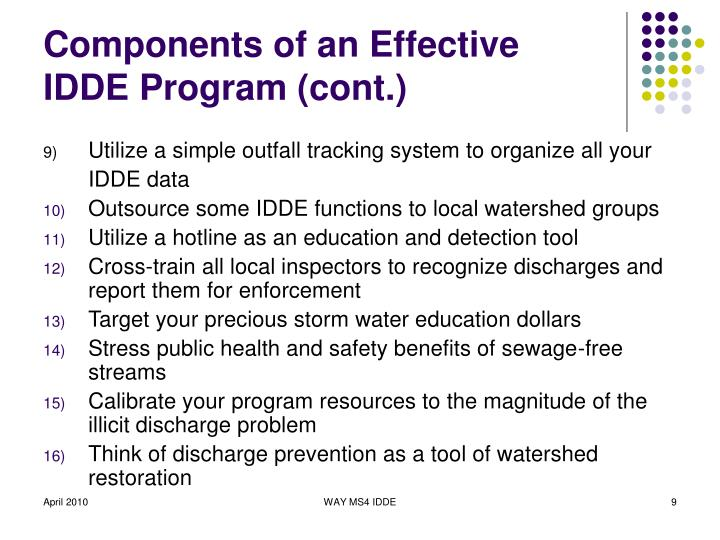 Components of an Effective IDDE Program (cont.)