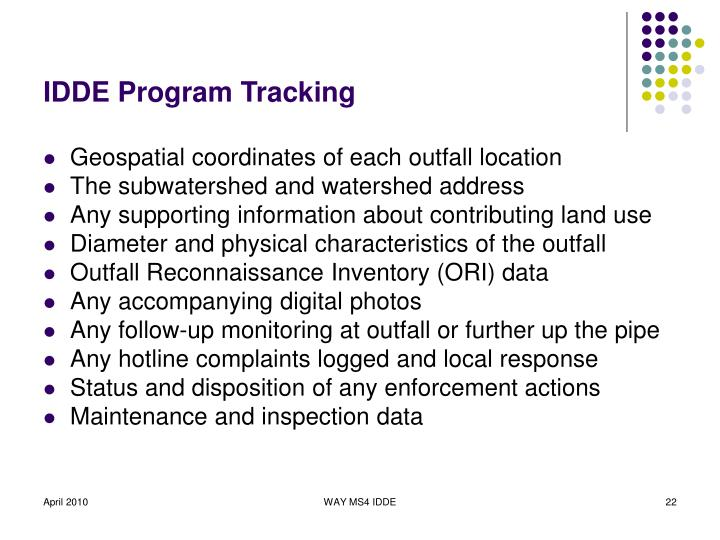 IDDE Program Tracking