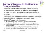 overview of searching for illicit discharge problems in the field