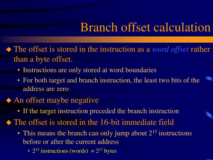 Branch offset calculation