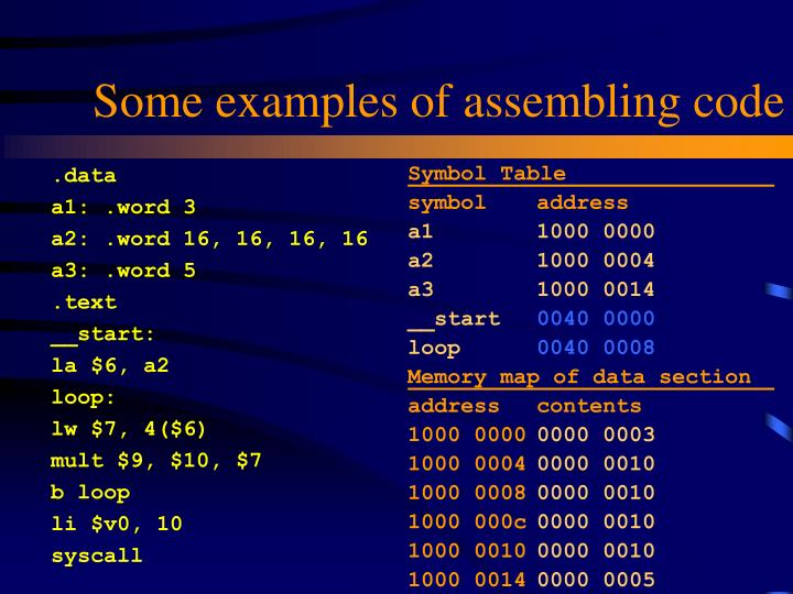 Some examples of assembling code