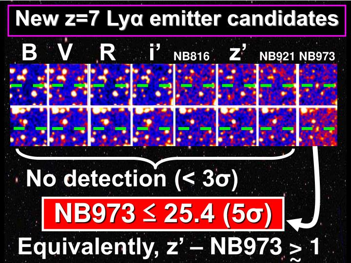 New z=7 Lyα emitter candidates