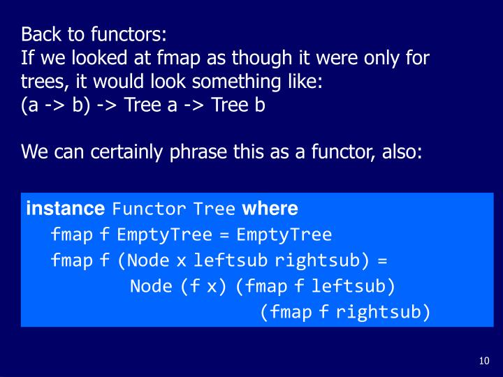 Back to functors: