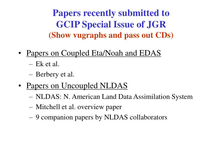 Papers recently submitted to