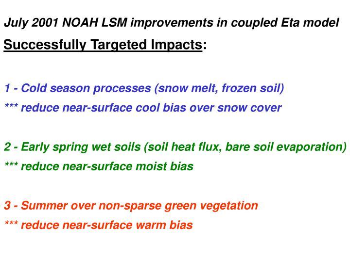 July 2001 NOAH LSM improvements in coupled Eta model