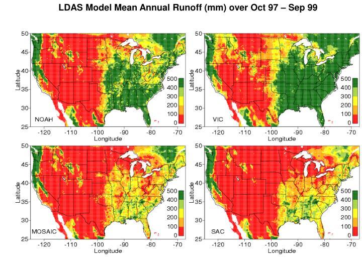 LDAS Model Mean Annual Runoff (mm) over Oct 97 – Sep 99