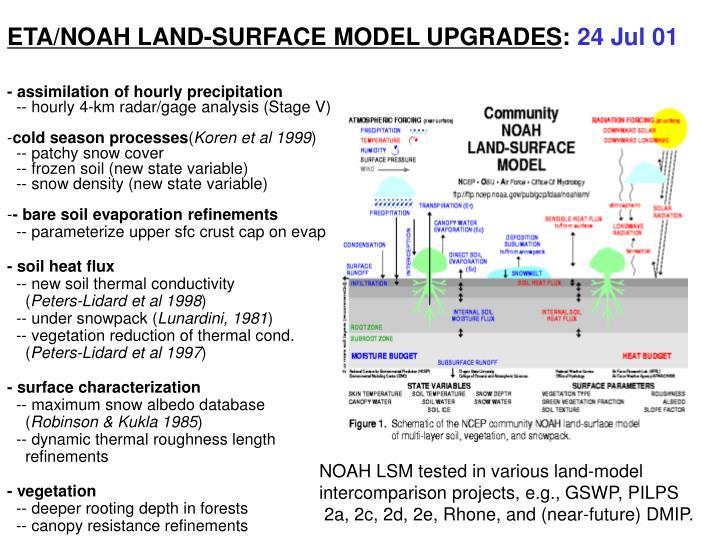 ETA/NOAH LAND-SURFACE MODEL UPGRADES