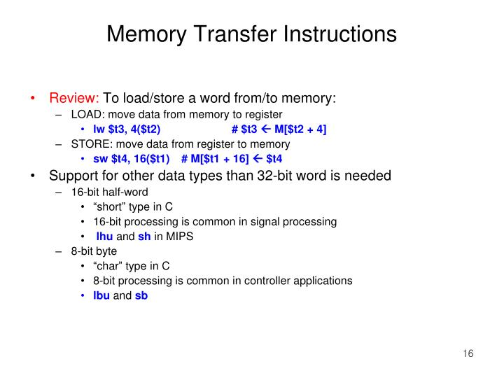 Memory Transfer Instructions