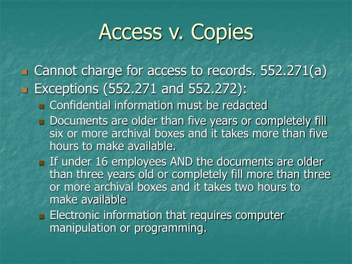 Access v. Copies