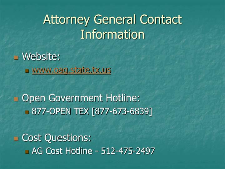 Attorney General Contact Information