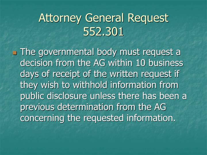 Attorney General Request