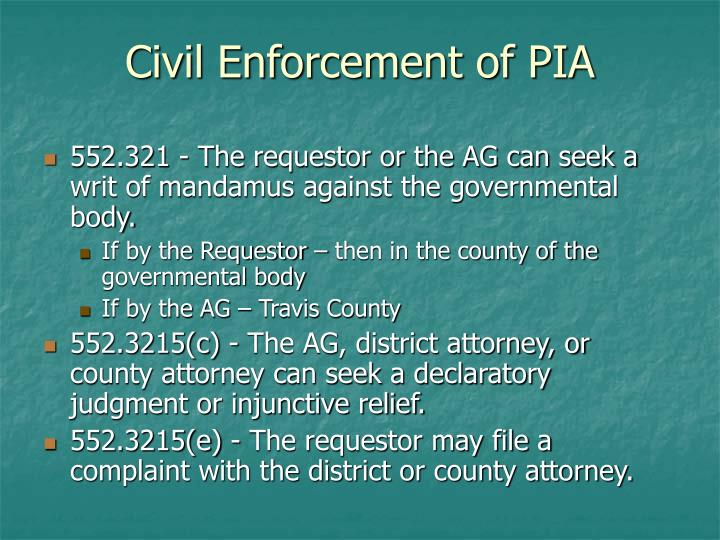 Civil Enforcement of PIA