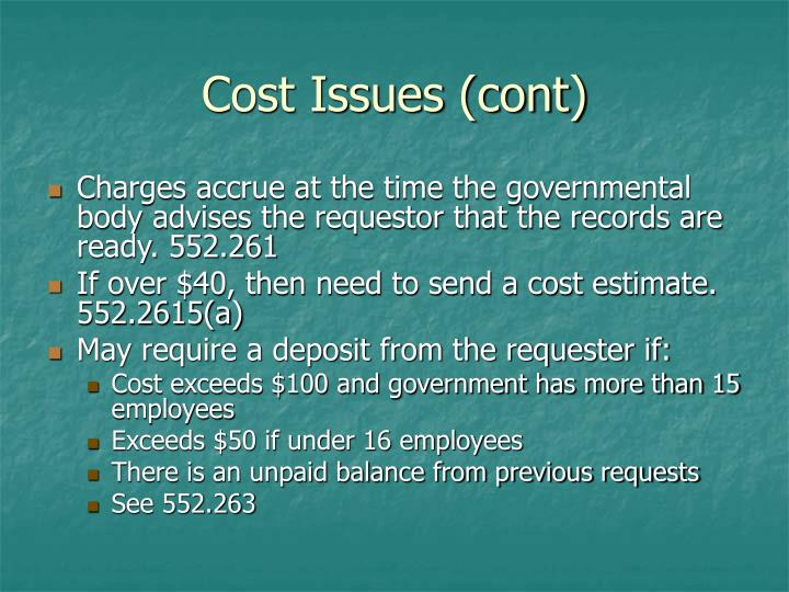 Cost Issues (cont)