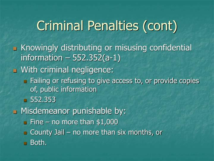 Criminal Penalties (cont)