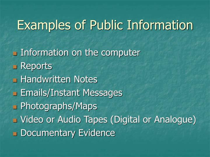 Examples of Public Information