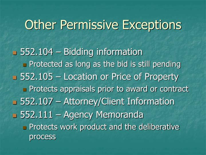 Other Permissive Exceptions