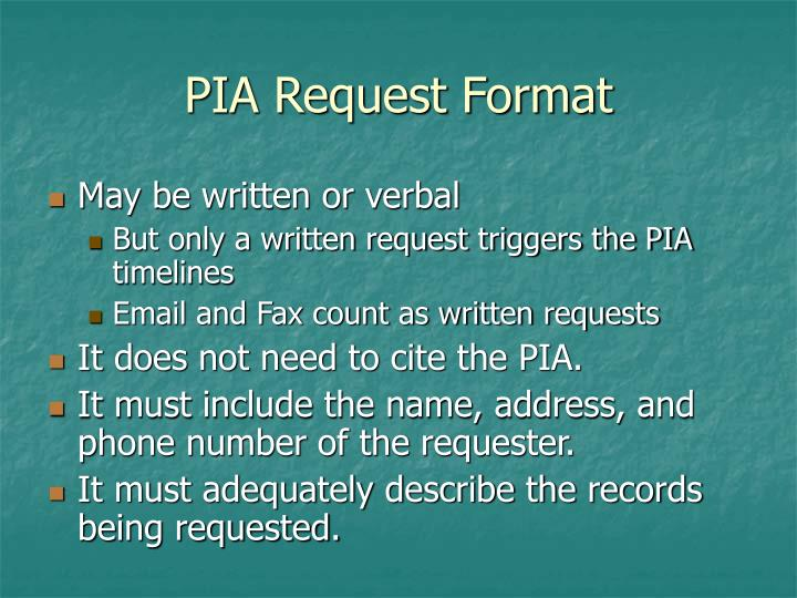 PIA Request Format