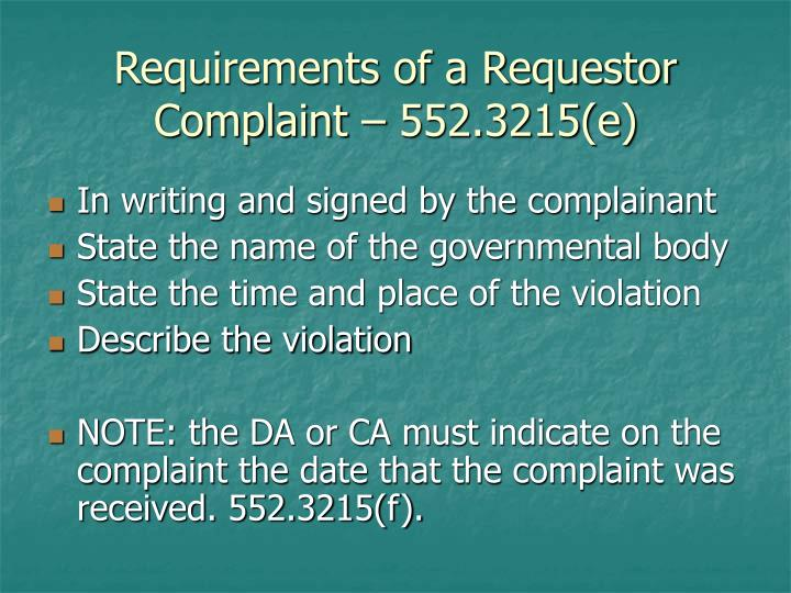 Requirements of a Requestor Complaint – 552.3215(e)