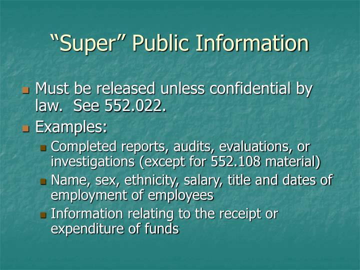 """Super"" Public Information"