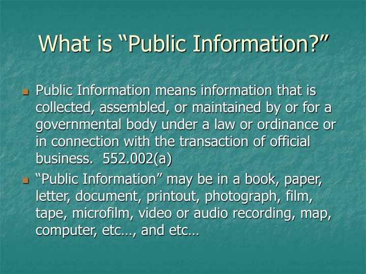 "What is ""Public Information?"""