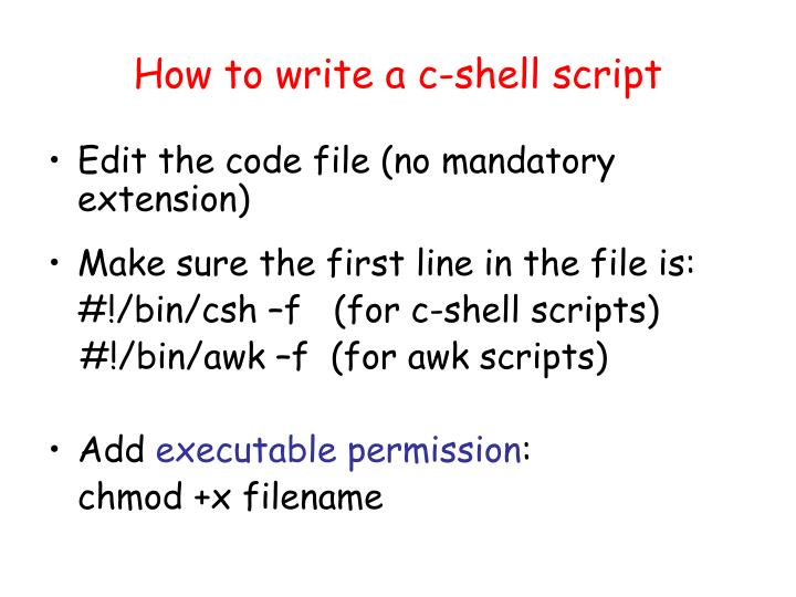 How to write a c-shell script