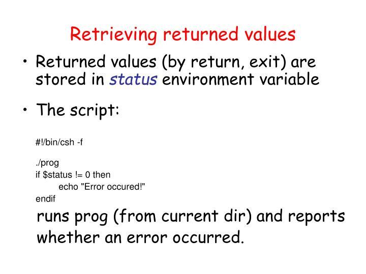 Retrieving returned values
