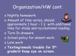 organization hw cont