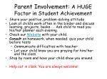 parent involvement a huge factor in student achievement