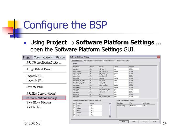 Configure the BSP