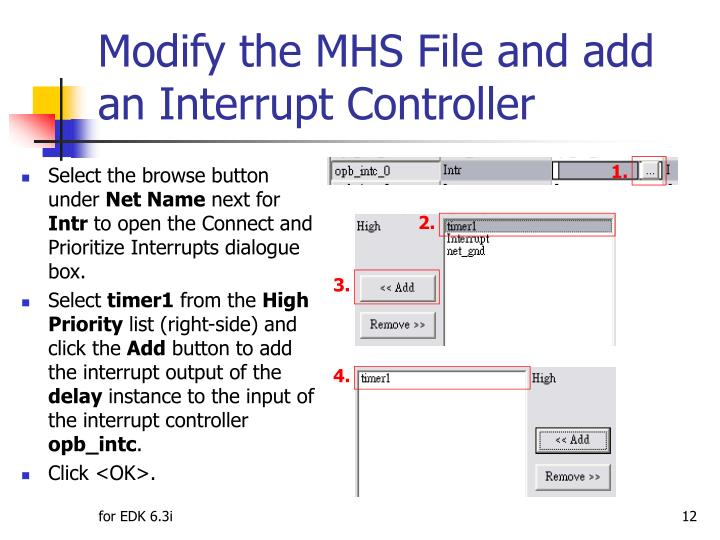 Modify the MHS File and add an Interrupt Controller