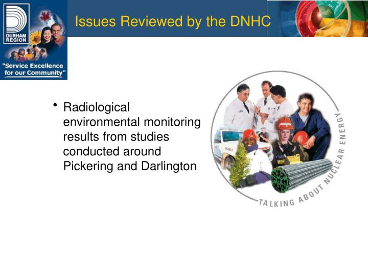 Issues Reviewed by the DNHC