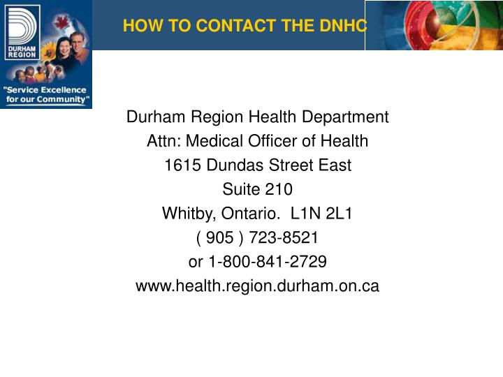 HOW TO CONTACT THE DNHC