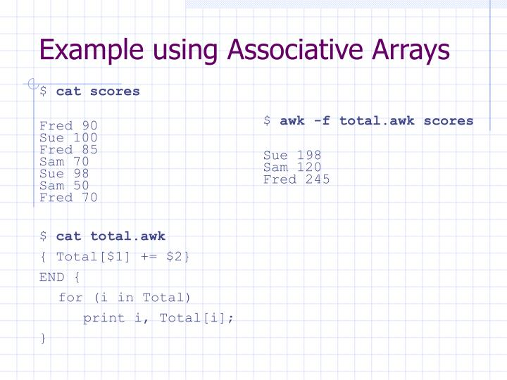 Example using Associative Arrays