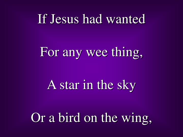 If Jesus had wanted