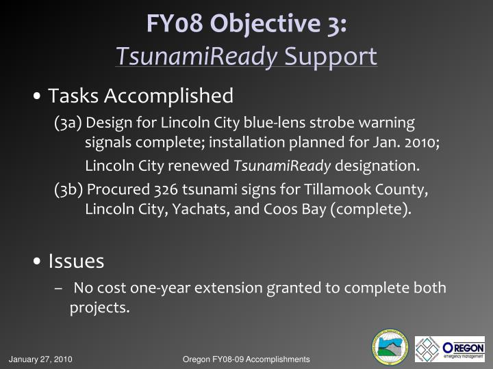 FY08 Objective 3: