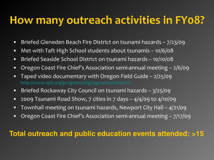 How many outreach activities in FY08?