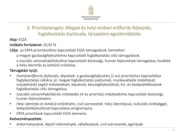 6. Prioritástengely: Megyei és helyi emberi erőforrás fejlesztés, foglalkoztatás ösztönzés, társadalmi együttműködés