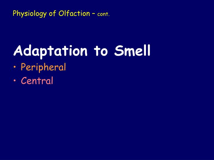 Physiology of Olfaction –