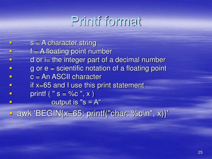 Printf format