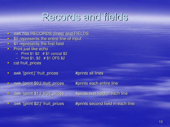 Records and fields