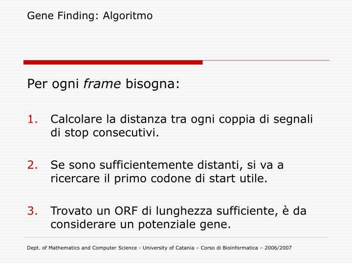 Gene Finding: Algoritmo
