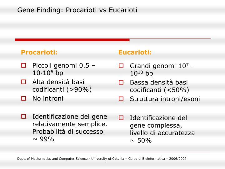 Gene Finding: Procarioti vs Eucarioti