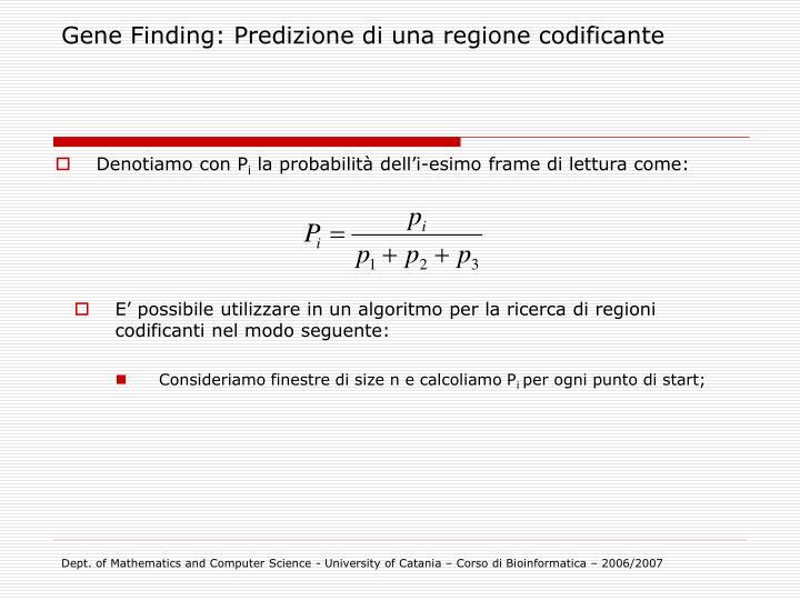 Gene Finding: Predizione di una regione codificante