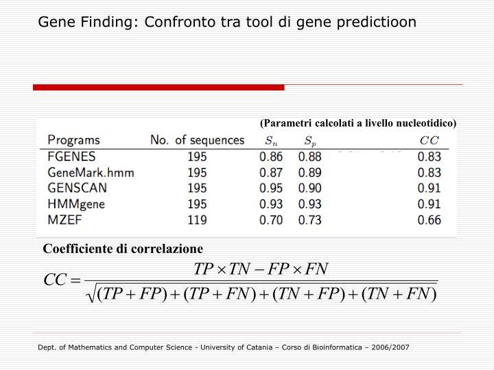 Gene Finding: Confronto tra tool di gene predictioon