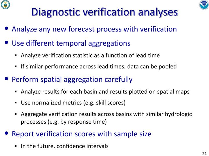 Diagnostic verification analyses