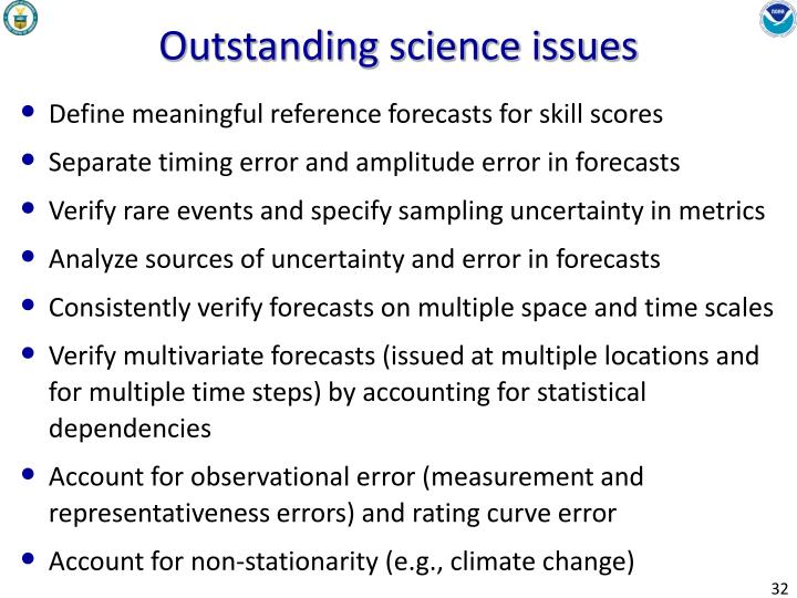 Outstanding science issues